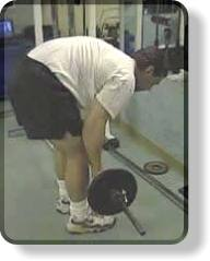 Error: hunched-over position for the barbell bent-over row for the back