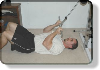Lying Cable-Curl Crunches