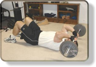 Lying Barbell Tricep Extensions On The Floor