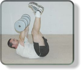 Dumbell bench leg raise crunches for abs